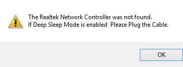 realtek network controller not found