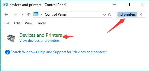 search devices and printers in the search box of control panel