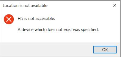 a device which does not exist was specified