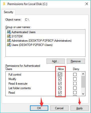 allow full control for the disk