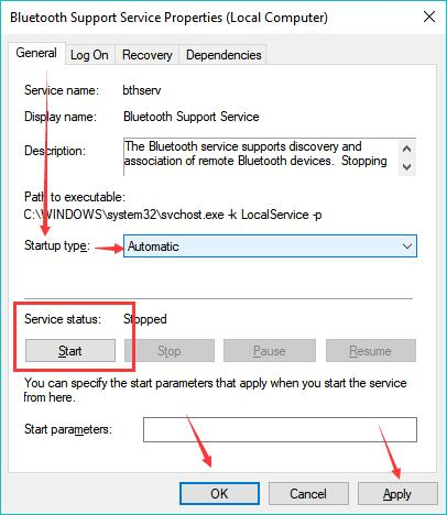 enable bluetooth support service