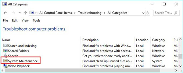 system maintenance in troubleshoot computer problems
