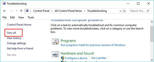 view all under troubleshooting