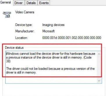 windows cannot load the device driver fo this hardware because a previous instance of the device is still in memory
